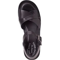 KORK-EASE Ava Black Leather ($68) ❤ liked on Polyvore featuring shoes, sandals, black, flats, black leather shoes, black platform sandals, platform wedge sandals, black flats and black flat shoes