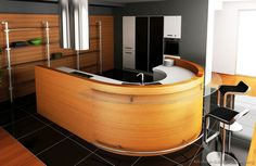 #Kitchen Idea of the Day: Modern Two-Tone Kitchens. Pretty, two tone light wood white black curved island