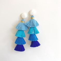mother of pearl + blue ombre tassel