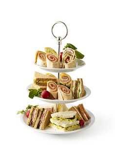 Tea Party Ideas - Adult Tea Party - Woman's Day...love the sandwich display and the activity! J