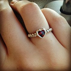 Heart with Garnet Twisted Wire Ring from James Avery.  I want this ring!