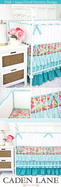 A fun and funky crib bedding that is perfect for a modern aqua floral nursery + more floral nursery inspiration!