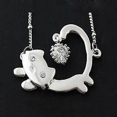 Adorable Silver and Rhinestone Running Cat Necklace for $1.10