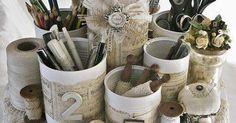 Reutiliza todo tipo de latas o cajas circulares de cartón para crear hermosos organizadores. Piénsalo dos veces antes de tirar a la basura...