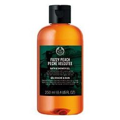 The Body Shop Fuzzy Peach Bath and Shower Gel 8.4 fl oz by The Body Shop. $19.50. Sweet and Fruity Scent of Fresh Peaches. The Body Shop Originals Collection. Organic Aloe Vera Soothes & Nurtures Skin while Peach Fruit Extract Helps Smooth, Soften & Refreshes. Rich Lather of Soap-Free Cleansing Gel Leaves Skin Feeling Clean, Soft, Supple, and Scented. Durable, 100% Post Consumer Recycled 8.4 fl oz Plastic Bottle with Flip Top Lid Dispenser. The Body Shop Fuzzy Pea...