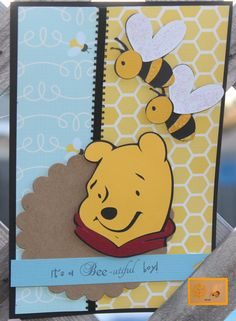 Pooh it's a Bee-utiful boy! Baby Scrapbook Pages, Disney Scrapbook, Scrapbook Sketches, Scrapbooking Layouts, Cricut Cards, Stampin Up Cards, Mini Photo Albums, Disney Cards, Bday Cards