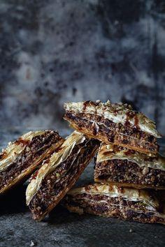 Chocolate Baklava Chocolate Baklava, Just Desserts, Dessert Recipes, Greek Desserts, Phyllo Dough Recipes, Chocolate Bonbon, Kolaci I Torte, Greek Recipes, Cookies Et Biscuits