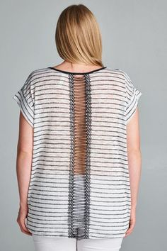 Love the detail on this plus size lightweight striped sweater.