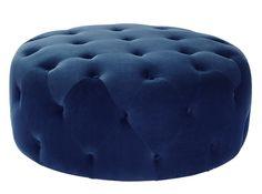 Hampton Large Round Pouffe, Velvet Electric Blue