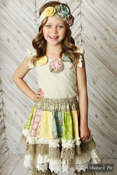 7339d2b29a9 Mustard Pie Girls Shangrila Raven Top with Three Flowers Easter Outfit For  Girls
