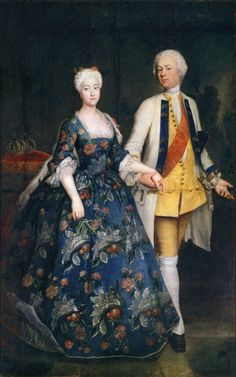Antoine Pesne (French, 1683-1757). Princess Sophia Dorothea with her husband Frederick William, 1734. Oil on canvass; dimensions unknown. Private collection. https://fashionhistory.fitnyc.edu/1730-1739/