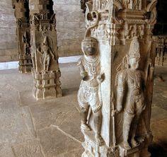 Dravidian: Vijayanagara columns - at Jalakanteswara Temple, Vellore, India.  Columns include carvings of rearing horses and dragons, yalis (lion-like creatures), monkeys, etc.
