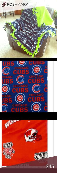 Fleece Tie blankets Here's a few patterns and examples of sports teams I can make. Adults are 2.5 yards kids are 2 yards and baby blankets are 1.5 yards. All 58inches wide.  Adults sports blankets $45 each Any other print besides sports are $35 Kids sports $30 Other prints $25 All baby or smaller blankets $25 These make wonderful Christmas gifts and really for any occasion! Shoot me a message for any questions and I'll do my absolute best to find your print❤ Feel free to check out my page as…