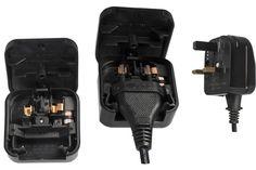 Stromadapter England UK GB 3A St./2pin Euro, fest verschraubt, schwarz