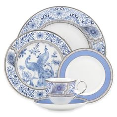 Marchesa by Lenox Dinnerware, Sapphire Plume 5 Piece Place Setting - Fine China - Dining & Entertaining - Macy's Fine China Dinnerware, Dinnerware Sets, White Dinnerware, Porcelain Dinnerware, Blue And White China, Blue China, Marchesa, Ceramica Artistica Ideas, Main Image