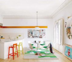 Colorful Apartment Exploding With Energy and Good Taste in Barcelona - http://freshome.com/2011/08/23/colorful-apartment-exploding-with-energy-and-good-taste-in-barcelona/