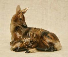 Keramos Tierkeramik Rehgruppe Reh Kitz Chocholka Art Deco, Fabric Painting, Giraffe, Sculpture, Ceramics, Wool, Garden, Animals, Decor