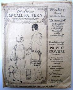 Darling McCall 1920's Girls Slip on Dress Pattern Sz 12 3956 Antique Vintage | eBay