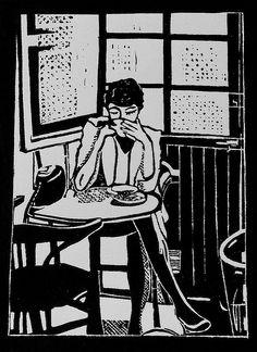 La femme au café - Linocut, Geraldine Theurot, Print