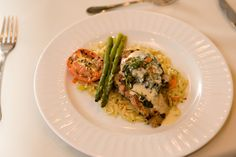 Chicken Rockefeller with Boursin Spinach Sauce over Tri-Colored Orzo with Asparagus