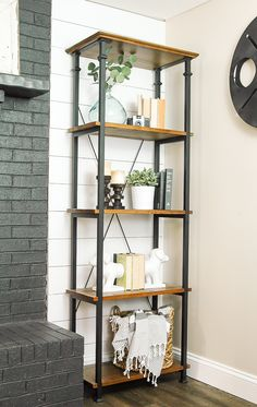 Dark gray (Dragon's Breath?) supports and medium wood stain shelves~Family Room & Studio