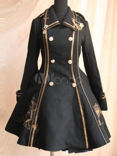 If you love vintage style coats, this lovely Lolita-inspired one is for you. It's made from a durable wool blend in a traditional pea coat style. Steampunk