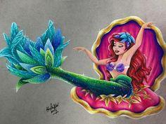 "Ariel from ""The Little Mermaid"" - Art by Max Stephen (maxxstephen on Instagram)"