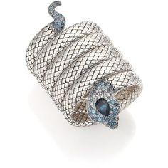 John Hardy Legends Cobra Semi-Precious Multi-Stone, Diamond & Sterling... ($5,070) ❤ liked on Polyvore featuring jewelry, bracelets, apparel & accessories, silver, john hardy jewelry, blue diamond jewelry, blue jewelry, sterling silver bangles and sterling silver jewellery