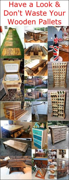 Have a Look & Don't Waste Your Wooden Pallets: Step ahead, use these wooden pallets to create something entirely innovative and unique! You can build tables, Wood Pallet Crafts, Wooden Pallet Furniture, Diy Pallet Projects, Wooden Pallets, Wood Projects, Woodworking Projects, Pallet Ideas, Pallet Wood, Pallet Jack
