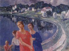 Petrov-Vodkin, Kuzma - 1926 In Shuvalovo (The State Russian Museum, St. Russian Painting, Russian Art, Socialist Realism, Soviet Art, Classic Paintings, Art Database, Online Painting, Art Studies, New Artists