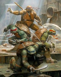 Hear TMNT is getting another movie reboot. So here's hoping it actually sticks true to the original design,. Ninja Turtles Art, Teenage Mutant Ninja Turtles, Dc Anime, Renaissance Artists, Martial, Nerd, Comic Art, Comic Book, Character Art