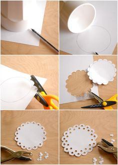 DIY: paper doily. If you have a scallop paper punch you can eliminate the first 4 steps. Cute!