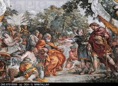 Aeneas with King Evander and Pallas, detail from Stories of Aeneas