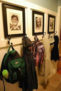 mudroom idea - I like the photos that go with each set of hooks and that there are 2 hooks per child (one for bags, one for coats/hats) Instead of photos, hang each kid's artwork Hall Deco, Home Organization, Household Organization, Mudroom, My Dream Home, Home Projects, Diy Home Decor, Sweet Home, New Homes