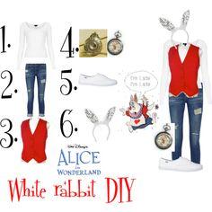 White rabbit diy Halloween costume by dreamingdisney on Polyvore featuring Topshop, Frame Denim, Keds, Retrò, Carole, Disney, women's clothing, women's fashion, women and female