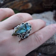 Wire wrapped ring Genuine Sterling Silver Labradorite Ring - Gemstone Jewelry, 925 Silver, Gemstone Ring, Blue Stone, Handmade, Boho