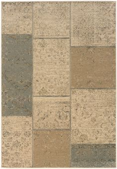 This synthetic machine made Sphinx by Oriental Weavers rug was made in the United States from 100% Polypropylene. This transitional style area rug features a patchwork design with tan hues of colors....