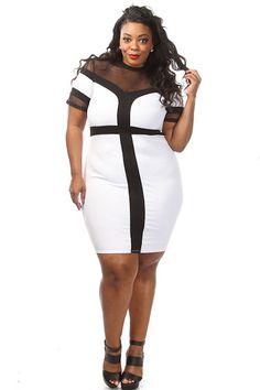 White mesh top plus size dress