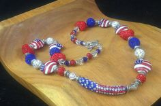 Fourth of July - Handmade Beaded Necklace - Serious Red, White and Blue by TheWarriorsJewelry on Etsy