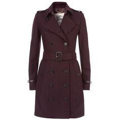 Burberry London Swannington Leather Trim Wool Trench Coat (2,450 CAD) ❤ liked on Polyvore featuring outerwear, coats, slim fit wool coat, burberry, leather trim wool coat, slim trench coat and burberry trenchcoat