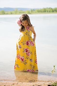 Mustard Floral Tank Maxi, Floral Dress, Cinched Dress, Maxi Dress, Tank Dress, Fashion, Ryleigh Rue, Kids Clothing, Kids Boutique, Online Shopping, Online Boutique, Boutique