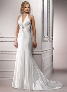 Halter Deep V-neck Beaded and Pleated Open Back Wedding Dress WD1772 www.tidedresses.co.uk $229.0000
