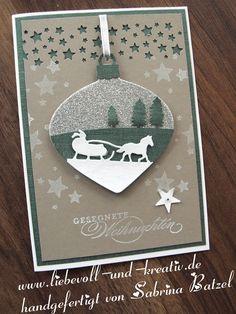 Stampin'Up Verpackung Geschenk Ziehschokolade Schokolade Weihnachten Schlittenfahrt Framelits Christbaumkugel Sternenhimmel Gesegnete Weihnachten