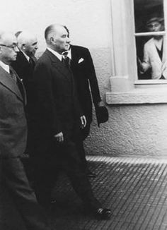 Atatürk and Bayar, walking with a group of bureaucrats in Afyonkarahisar, November 1937 Republic Of Turkey, The Republic, Riders On The Storm, Turkish Army, The Turk, Great Leaders, World Peace, World Leaders, Historical Pictures