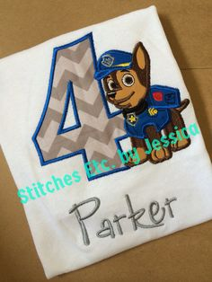 Chase Paw Patrol Birthday Shirt by shopstitchesetc on Etsy