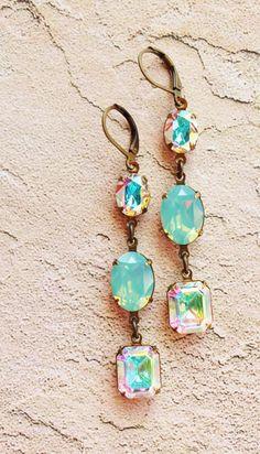 Aurora Borealis,Pacific Opal Vintage Swarovski Earrings,Nautical,Rectangle Rhinestone Earrings,Mint Blue Green Opal,Bridal, Rainbow,Weddings...