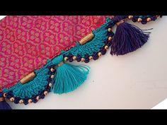 350 to 400 ರೂಪಾಯಿಗೆ ಕ್ರೋಷಿಯ ಸೀರೆ ಕುಚ್ಚು to 400 crosiya saree kuchu design kannada Saree Tassels Designs, Saree Kuchu Designs, Blouse Neck Designs, Embroidery Neck Designs, Creative Embroidery, Tatting Necklace, Saree Border, Crochet Art, Crochet Designs