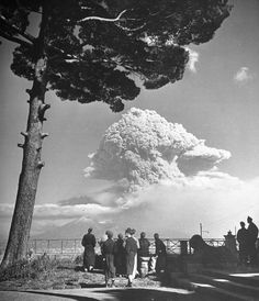 George Rodger—Time & Life Pictures/Getty Images. Not published in LIFE. Watching the 1944 eruption of Mt. Vesuvius, Italy.