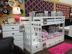White loft bunkbed! Stairs (with drawers) instead of a ladder! Unique and stylish for a kid's bedroom.