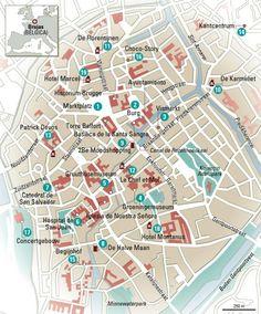 Mapa de Brujas (Bélgica).